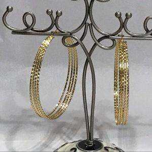 BIG BEAUTIFUL HOOPS! 4-in-1 Goldtone Post Earrings